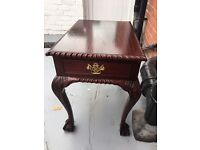 Repro mahogany side table with drawer