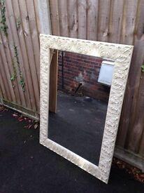 Ivory ornate bevelled mirror 60x90cm