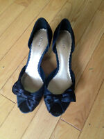 Cute Black 1 inch Fiona Shoes with Bow Size 7 1/2
