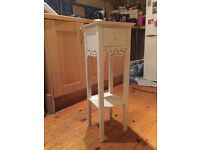 Bedside or lounge tall table - white with drawer