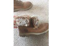 Genuine timberland fur fold down boots 4
