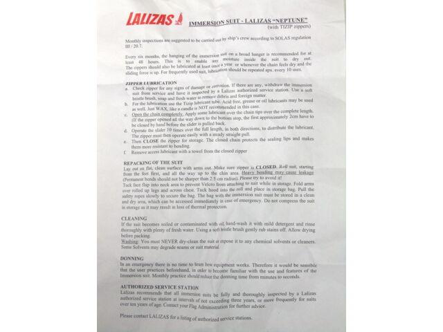 LALIZAS NEPTUNE INSULATED IMMERSION SUIT SOLAS LSA MSC DEEP SEA DIVING