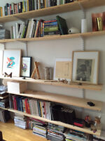Wall mounted shelving unit - solid pine and metal
