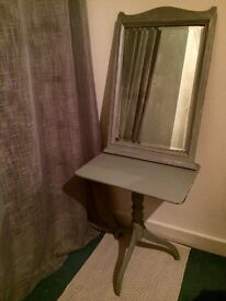Shabby Chic Distressed Grey Side Table and Mirror