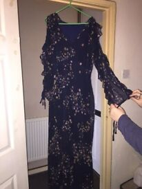 BRAND NEW!! MADEMOISELLE R - Floral Print Cold Shoulder Maxi Dress with Ruffles!!