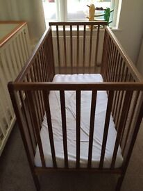 Solid wood cot with clevamama mattress