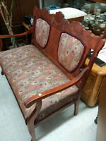 Antique Upholstered Bench with Ottoman