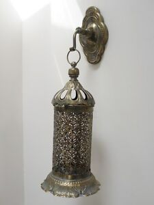 Large Morrocan Style Hanging Metal Wall Lantern Candle Holder Vintage Style