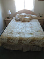 Queen sized bed (mattress, comforter and bed frame included)