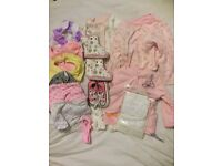 3-6m clothes (new with tags); bibs; 6-12m wellies; size 3 Converse & 18-24m frill pants