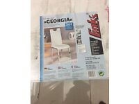 Set of two GEORGIA white leather chairs brand new