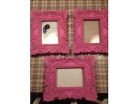 Set of 3 pink shabby chic picture frames