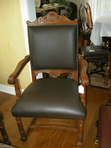 1,2,or 4 antique leather oak side or dining chairs ($395 EACH)