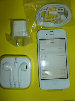 Iphone 4S 16gb White Phone New Lcd & Back - New Acc.