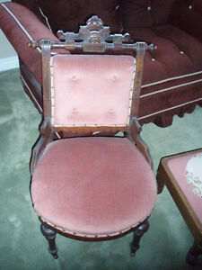 Antique Victorian Chairs with Ottoman