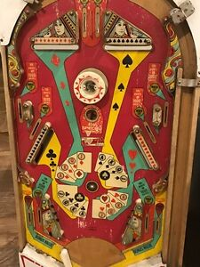 Pin ball machine game art, vintage antique arcade face
