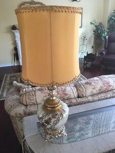 Large Antique Gold and Porcelain Lamp