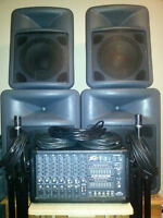 Peavey 400w 7Channel PA / 4 Speakers w/ Cables & 2 Stands