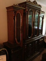 Solid oak antique hutch and buffet for sale