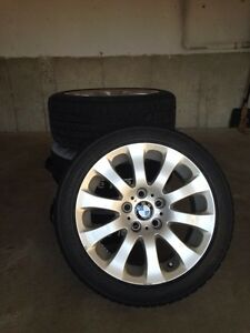 4 BMW OEM rims with 225/45/17 Continental snows