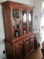 Solid Wood Dark Stained China Cabinet with Hutch