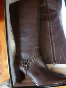 Cold Water Creek Knee High new leather brown boots size 8.5