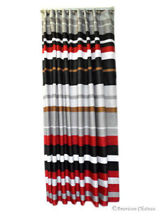 71 034 Red Black Grey Horizontal Stripe Fabric Shower