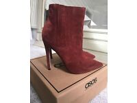 Red suede heeled boots, size 5, Asos, new