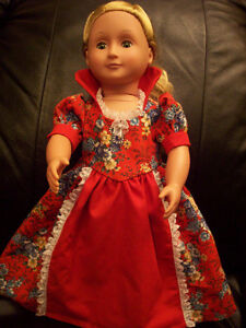 American Girl-sized Doll Clothes: Red Period Dress Windsor Region Ontario image 1
