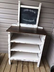 Vintage dresser with shelving kona brown and white