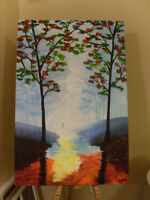 24 x 36 Acrylic wall art painting on canvas: Walk in the rain