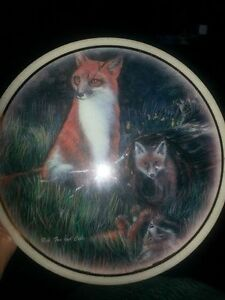 Glass stone wall hanging of a Red Fox and her cubs