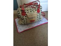 Pink Lining Yummy Mummy cupcake blue bows baby changing bag with mat