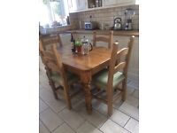 Pine dining table and chairs (delivery available)