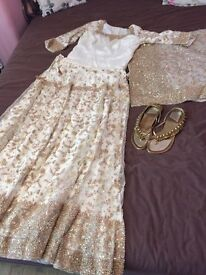 Beautiful & high quality Asian wedding dress, crepe silk underlined with satin