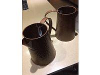 2 X Bronze colour steel jugs NEW
