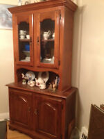 Antique solid maple display cabinet