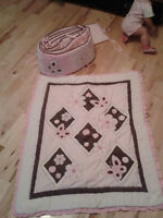 Pink & Brown bedding for baby girl's crib