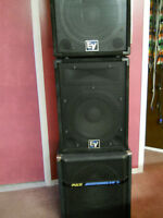 Two EV 15'' Speakers + Sub + Powered Mixer