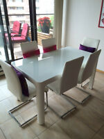 Dinning table and 6 chairs + low table