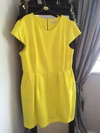Bright yellow Miss Selfridge dress, Size 16