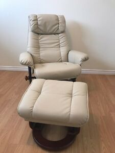 Beige Leather Recliner Chair & Footstool
