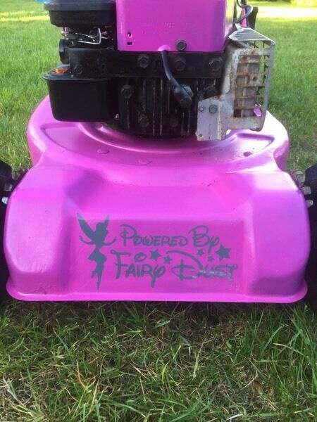 Pink lawnmower Briggs & Stratton engine in good condition novelty