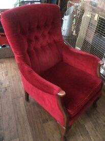 Red velvet chair armchair