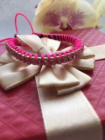 Neon Pink Leather Bracelet