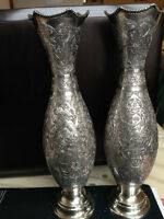 Two Hand Crafted Sterling Silver Vases