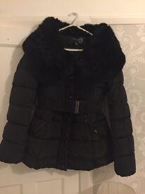 Winter puffa fur collar coat worn once size 10/12 immaculate black
