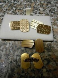 2 pair's of H G & S 'DE LUXE' Art Deco cufflinks marked 12ct front and back