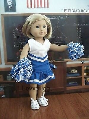 Blue Cheerleader Uniform Costume w Poms for American Girl 18