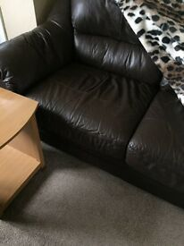 Brown leather three seater and two seater sofa for sale